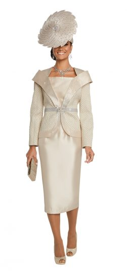 Donnavinci, 5639, champagne skirt suit
