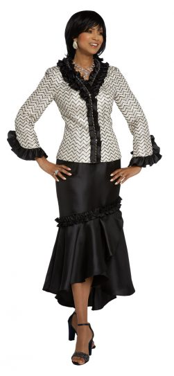 donnavinci, 5644,black-white skirt suit