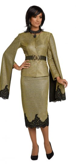 donnavinci, 5646, gold skirt suit