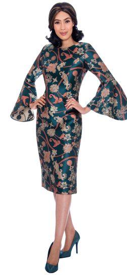 dress by Nubiano, dn2911, green print dress