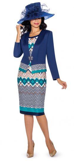 giovanna, g1090, navy knit skirt suit