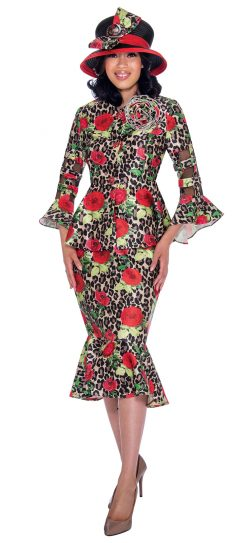 gmi, g7602, red printed skirt suit