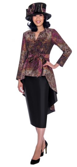 gmi, g7772, purple printed skirt suit