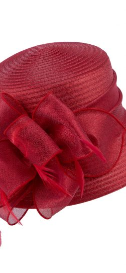 giovanna,red hat, red satin ribbon hat, hm970