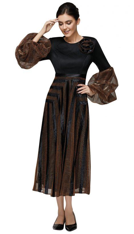 nina nischelle, 2892, black-brown long dress