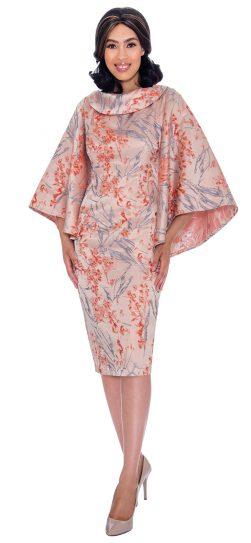 Nubiano, dn2871, orange print church dress, up to size 26W