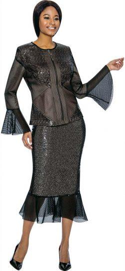 susanna, 3902, black dressy skirt suit, sizes 12-26