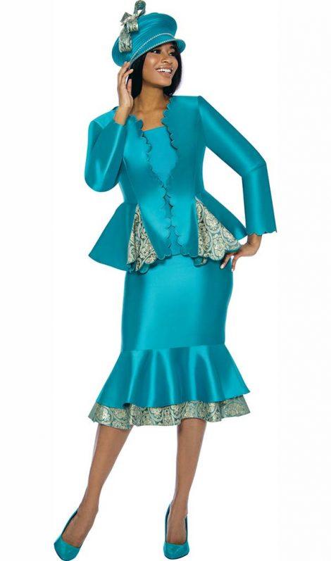 susanna, 3906, teal skirt suit, size 12-24