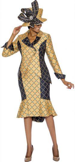 susanna, gold skirt suit, size 10-26, 3907
