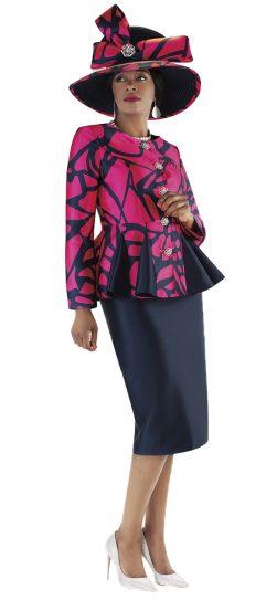 tally taylor, 4686, navy-fuchsia skirt suit