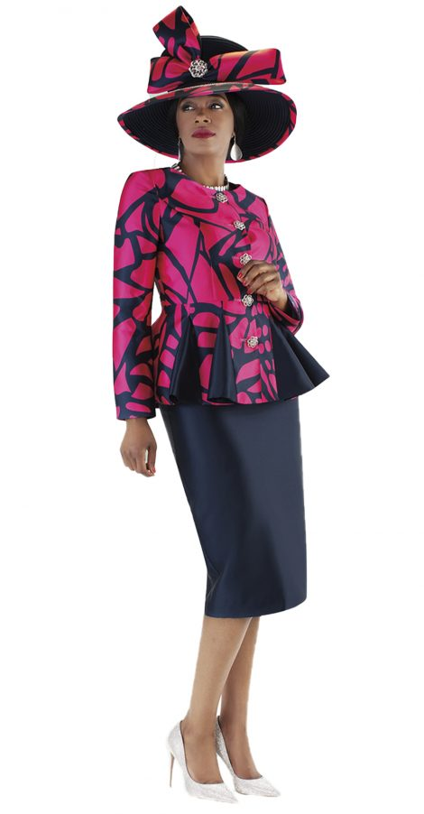 tally taylor, 4686, navy-fuchsia skirt suit