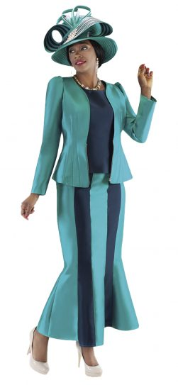 tally taylor, 4689, turquoise-navy skirt suit, long skirt suit