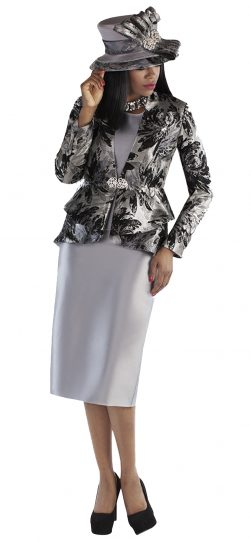 tally taylor, 4696, silver skirt suit