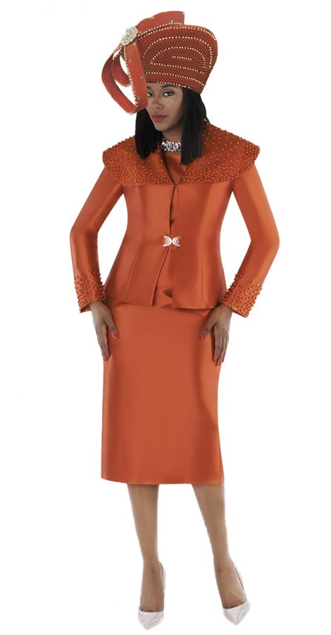 tally taylor, 4701, orange skirt suit, pumkin skirt suit