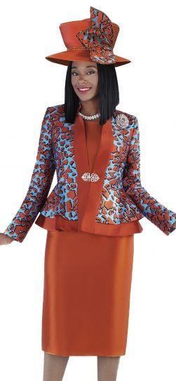 tally taylor, 4703, orange church suit, pumpkin color skirt suit