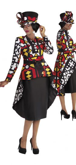 tally taylor, 4705, african print skirt suit