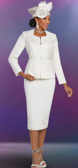 benmarc, off-white knit skirt suit, 48258
