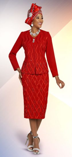 benmarc. red knit skirt suit, 48259