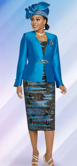 benmarc. 48266, turquoise skirt suit