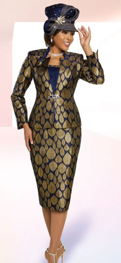benmarc, 48268, navy-gold skirt suit