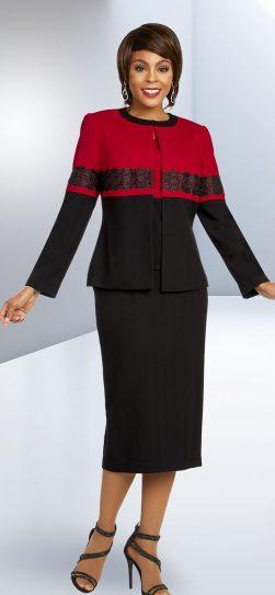 benmarc executive,11805, red-black skirt suit