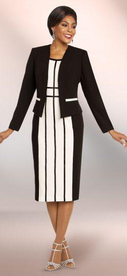 benmarc executive, 11814, Black-white stripe jacket dress