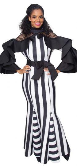 diana, 8342, black-white stripe gown