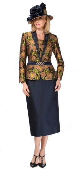 giovanna, 0932, navy print skirt suit