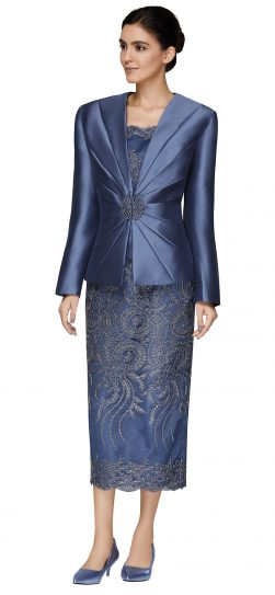 nina massini,2470. slate blue church suit