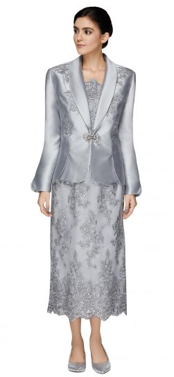 nina massini,2537, dressy silver skirt suit