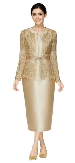 nina massini,2586, dressy gold skirt suit