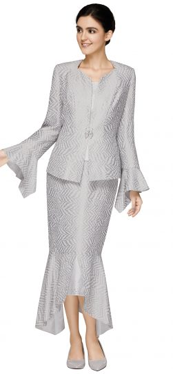 nina massini,2587, dressy silver skirt suit