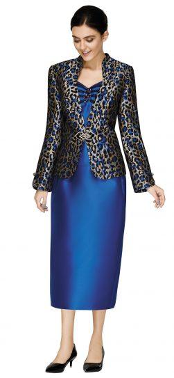nina massini,3011, dressy royal blue skirt suit