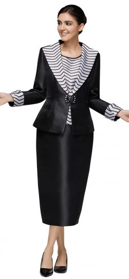 nina massini,3019, black-white stripe skirt suit