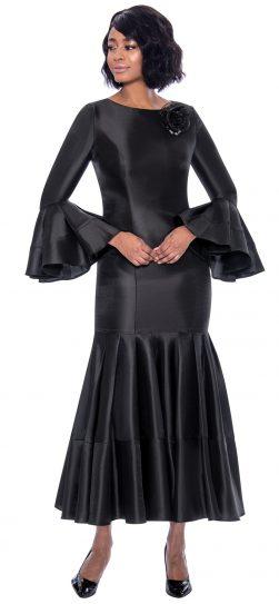 terramina, 7764, black one piece church dress