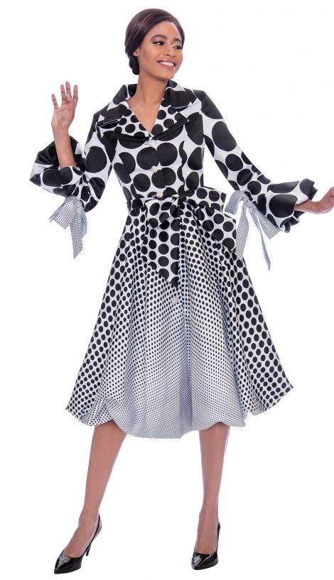 terramina, black-white polka dot dress