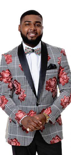 EJ Samuel, Mens Blazer, Black Red Floral Blazer