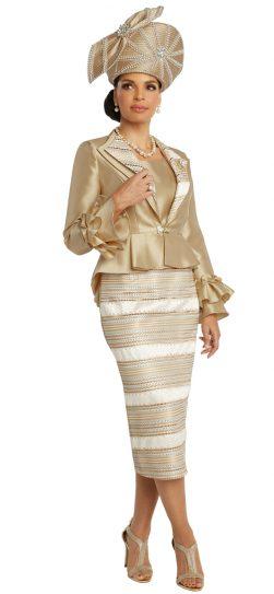 donnavinci, 5669, gold skirt suit
