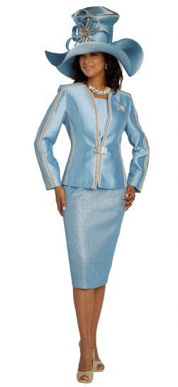 donnavinci, light blue skirt suit, light blue church suit