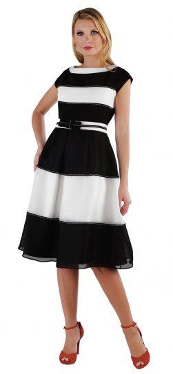 chancelle, 9551, black-white stripe dress