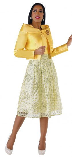 chancele, 9561, yellow jacket dress