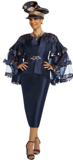 donnavinci, 11858, navy skirt suit