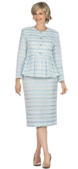 giovanna, g1126, blue-white stripe skirt suit