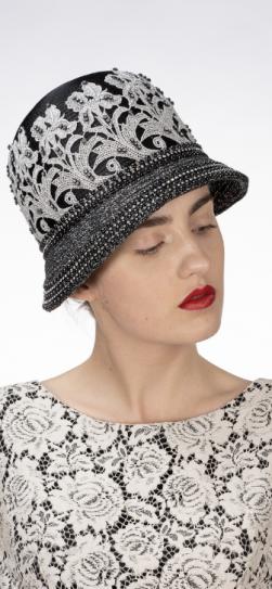 321906, black-silver lace hat