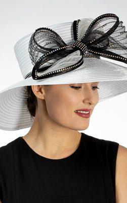 satin ribbon hat, 321911, black-white