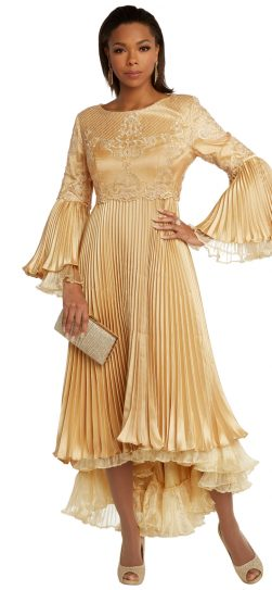 donnavinci, 11850, gold pleated dress