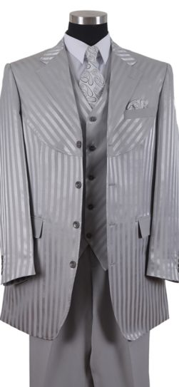 2915, Single Breasted Four Buttons shadow stripe suit, Side Vents, Pleated Pants. Great Men's suit with that longer jacket.