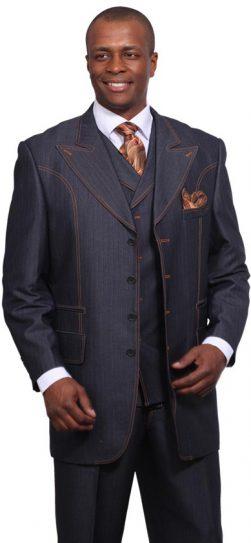 men's 3 piece denim dress suit, 5608