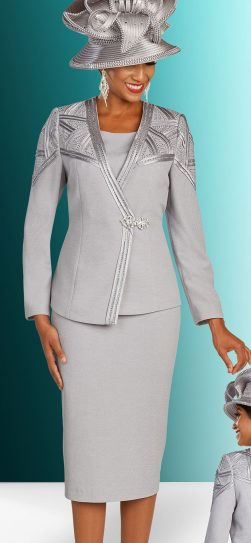 benmarc, knit skirt suit, 48302, silver knit