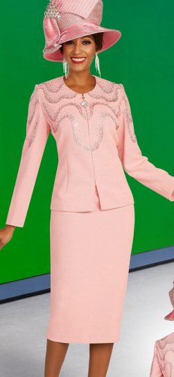 benmarc, 48305, pink knit skirt suit